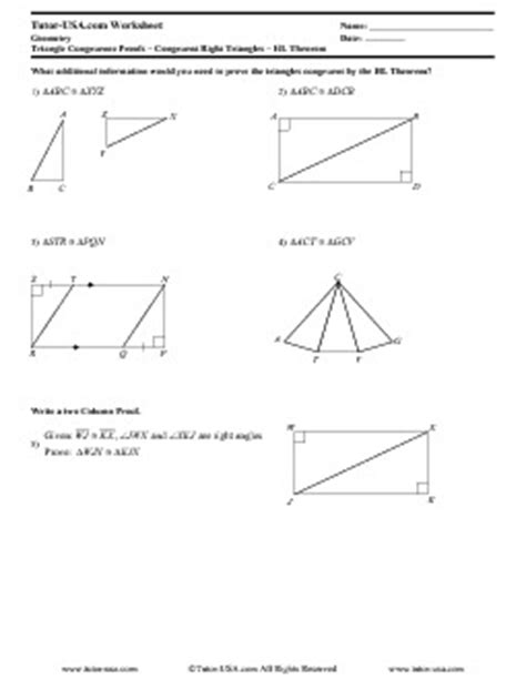 Worksheet Proving Right Triangles Congruent Hl Theorem  Geometry Printable