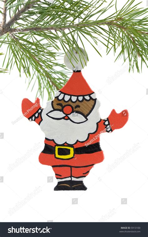 painted hand christmas trees painted wooden santa claus tree ornament stock photo 5913100