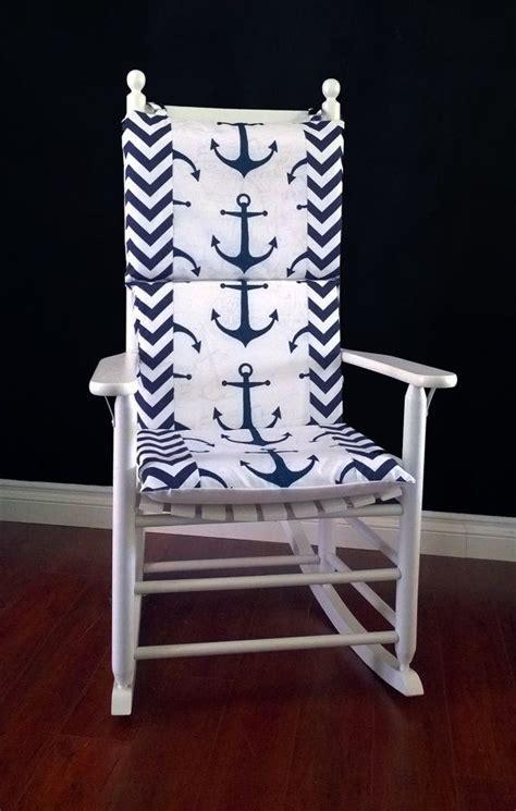 rocking chair cushion cover navy anchor chevron multiprint