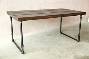 handmade wooden coffee table with u shaped galvanized With u shaped coffee table