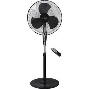 optimus 18 quot black oscillating stand fan with remote