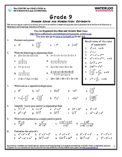 number sense and numeration exponents worksheet for 8th 10th grade lesson planet
