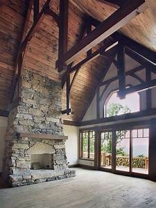 fireplace and cathedral ceilings rustic house