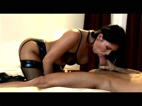 Hot Tempered Babe In Latex Lingerie Gives Blowjob