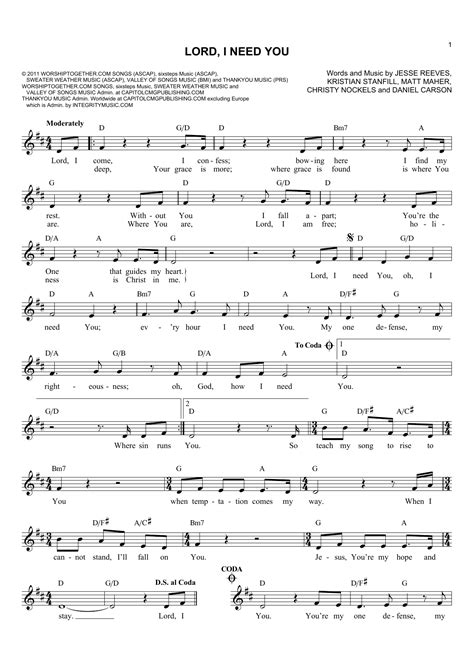 lord i need you sheet music direct