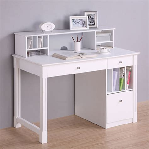 white office desk with hutch walker edison deluxe home office writing desk with storage