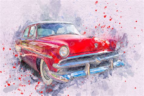 red ford   watercolor  paint splash art id