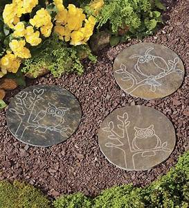 Slate garden stepping stones with owl designs pathways for Garden stepping stones