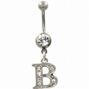 initial letter quotbquot clear gems belly button ring bodydazzcom With letter belly button rings