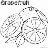Coloring Grapefruit Cartoon Printable sketch template