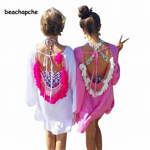 women summer dress 2017 sexy backless tassels woman beach With robes de plages
