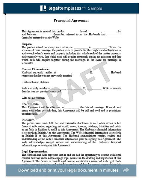 draft agreement template prenup agreements template template business