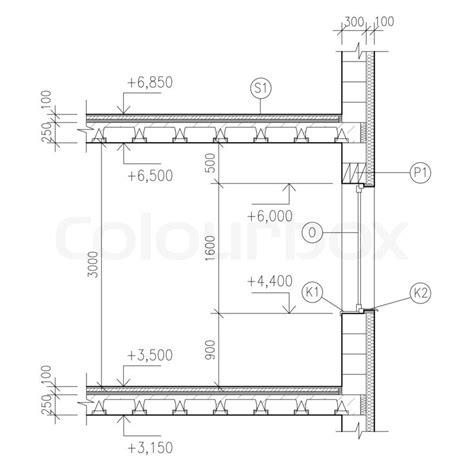 Bodentiefes Fenster Detail by Zeichnen Bauzeichnungen Fenster Detail Stockfoto