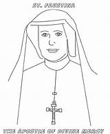Coloring Mercy Divine Faustina Pages Nun St Catholic Saints Saint Sunday Sister Feast Colouring Sheet Cartoon Jesus Crafts Celebrating Craft sketch template
