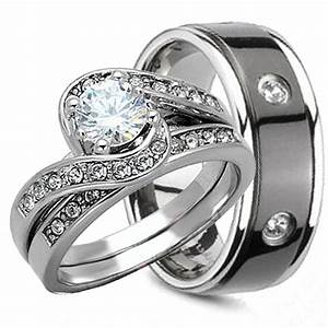 3PCS HIS AND HERS TITANIUM 925 STERLING SILVER WEDDING