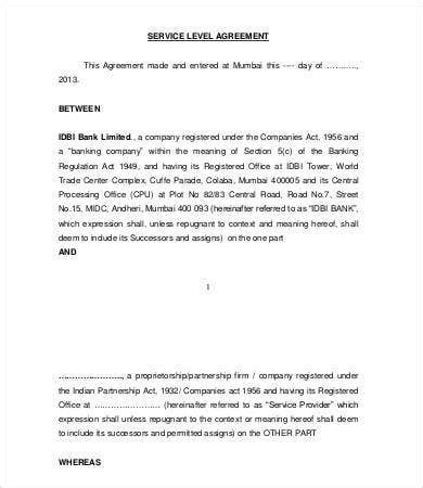 service level agreement template   word