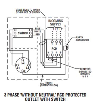 three wire connection of residual current devices rcds