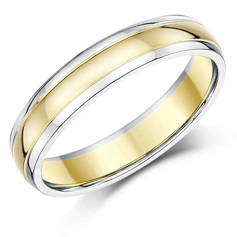 9ct two colour wedding ring band gold court shape two tone rings solid gold ebay