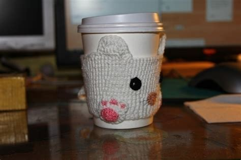 cute cat cup cozy  mug warmer crochet  cut