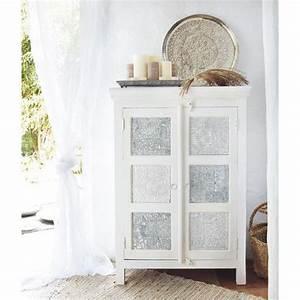 armoire blanche et argentee maisons du monde exotique With armoire maison du monde