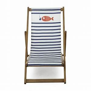 Chaise Longue Balcon : chaise longue de jardin chilienne motif marini re pour enfant naturel blanc et bleu solea ~ Teatrodelosmanantiales.com Idées de Décoration