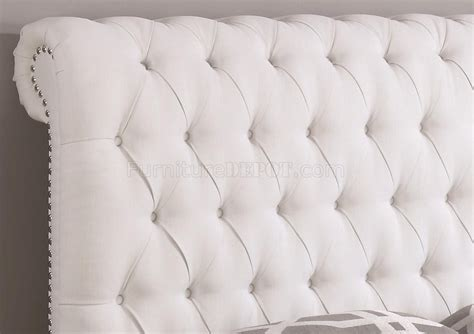 devon  upholstered bed  white fabric  coaster