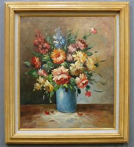 Framed Oil Painting of Still Life Beautiful Flower in Vase ...