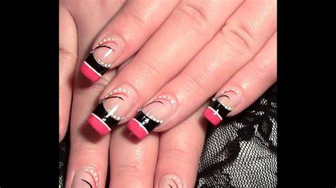 nageldesign abstrakt  pink schwarz zum selber machen
