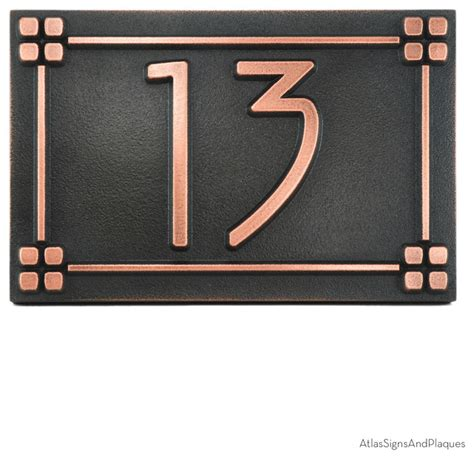 craftsman house numbers american craftsman address plaque 12 x 8 in copper patina