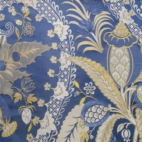 Upholstery Fabric Width by Tropical Rainforest Plants Jacquard Woven Blue Interior
