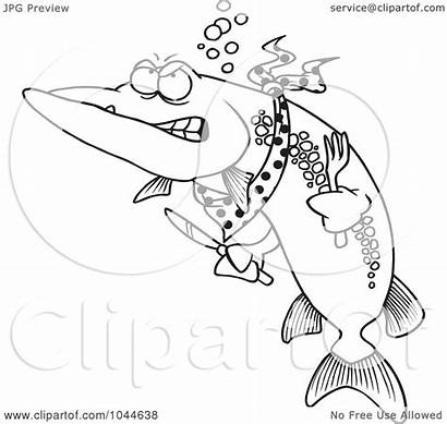 Muskie Fish Outline Hungry Royalty Cartoon Clip