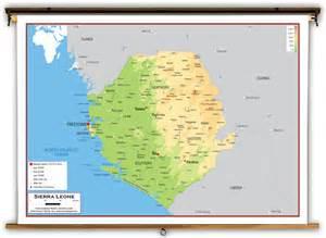 Sierra Leone Physical Educational Wall Map from Academia Maps Sierra Leone