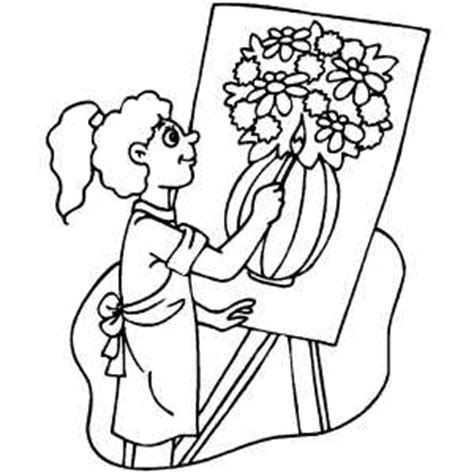 girl drawing vase  flowers coloring page