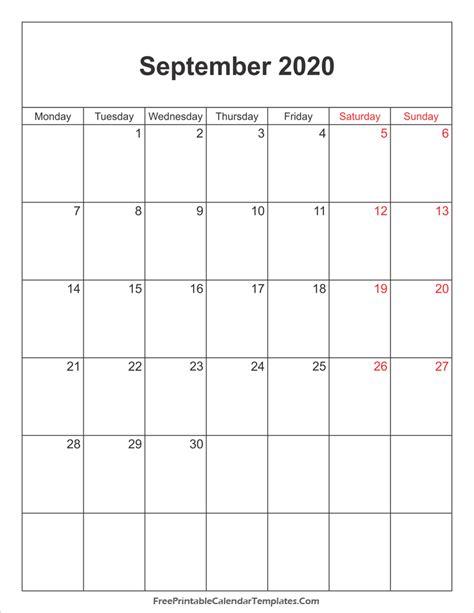 september  uk calendar