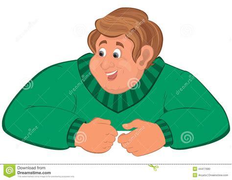 Happy Cartoon Man Torso In Green Sweater Elbows On Top