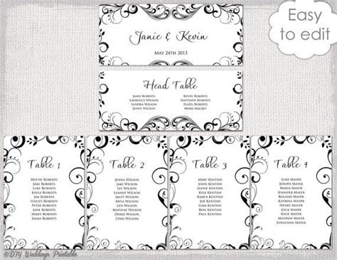wedding seating chart template black  white scroll