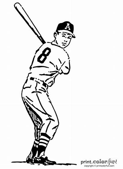 Baseball Player Coloring Pages Bat Number Printcolorfun