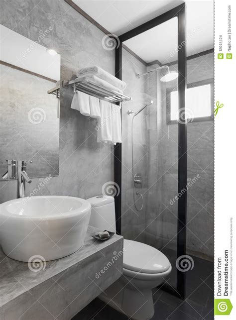 bathroom  gray cement wall stock photo image