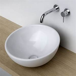 Vasque a poser ronde bol 42 cm ceramique pure for Salle de bain vasque à poser