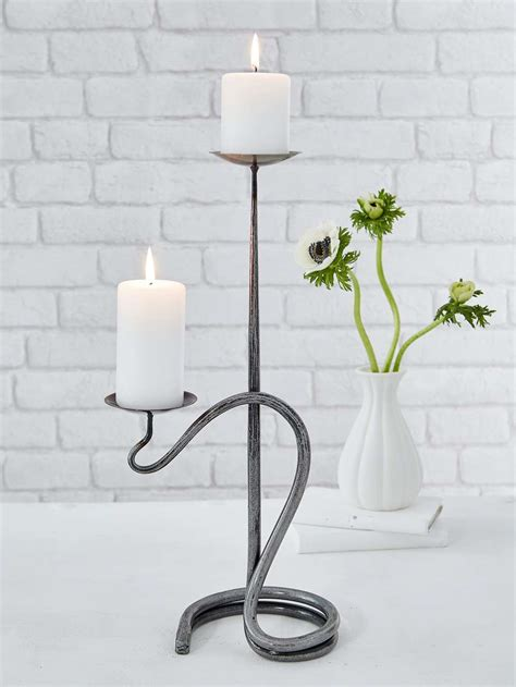 artisan double candle holder wrought iron candle holder