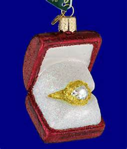 engagement ring ornament engagement ring in box glass ornament by world