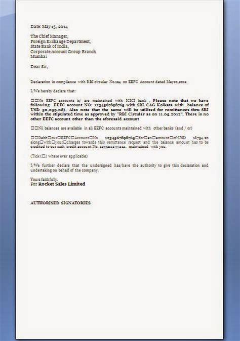 free sle declaration letter format invoice copy