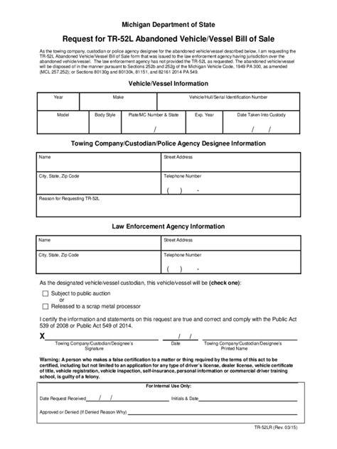 michigan bill  sale form  templates   word