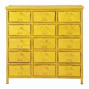 Cabinet Maison Du Monde : commode cabinet indus jaune edison maisons du monde ~ Nature-et-papiers.com Idées de Décoration
