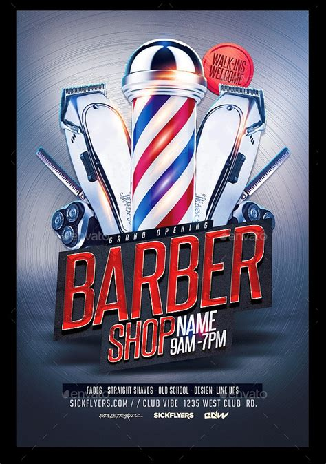 barbershop flyer templates  designs word psd