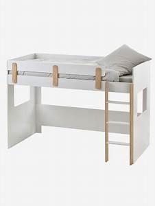 Lit En Hauteur Enfant : lit mezzanine mi hauteur ligne everest blanc bois vertbaudet ~ Melissatoandfro.com Idées de Décoration