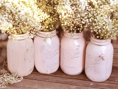 shabby chic centerpiece shabby chic weddings mason jars distressed paint glass jar