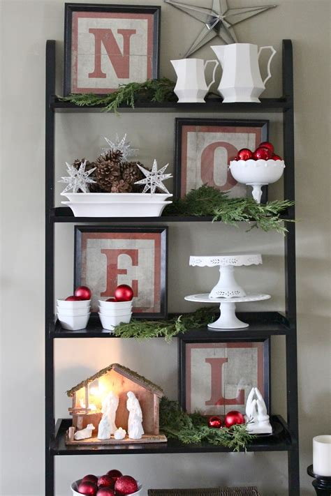 bookcase christmas decorating ideas like the style of the letters black frame white and red