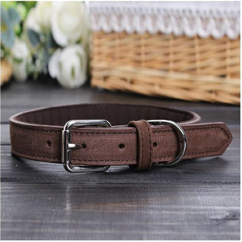 Cowhide Collars by 2019 Genuine Leather Pet Dogs Collars Real Cowhide Collar