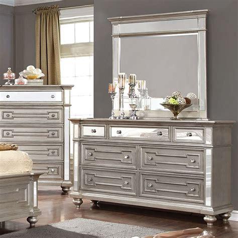 Mirror Finish Dresser by Salamanca Silver Finish Mirrored Dresser Mirror